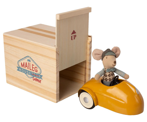 Mouse Car With Garage - Yellow - Mabel Child