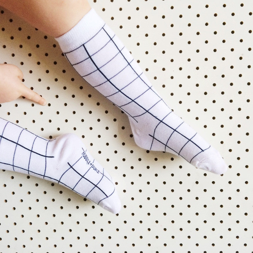 'Grid' Knee High Socks - Mabel Child