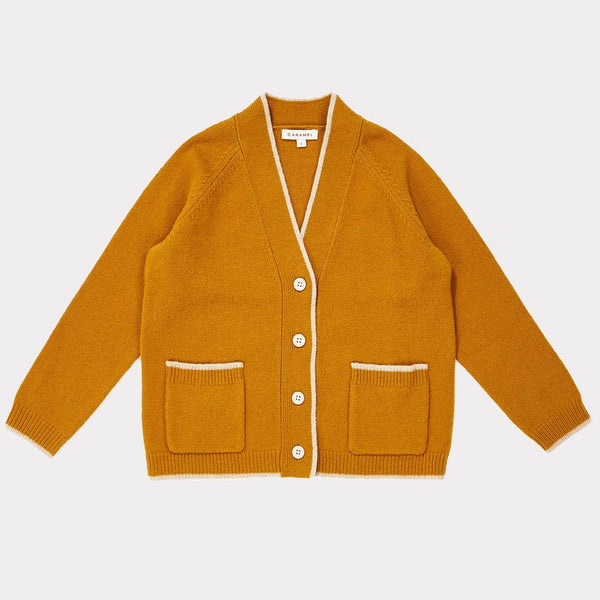 Leto V Neck Cardigan - Mustard - Mabel Child