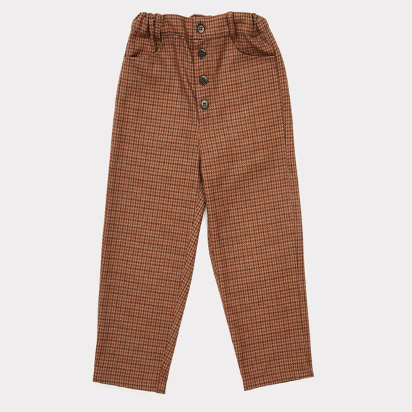Panda Trouser - Orange Houndstooth - Mabel Child