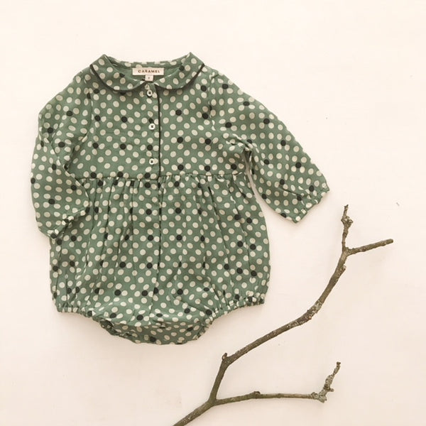 Whale Baby Romper - Forest Green Polka Dot - Mabel Child
