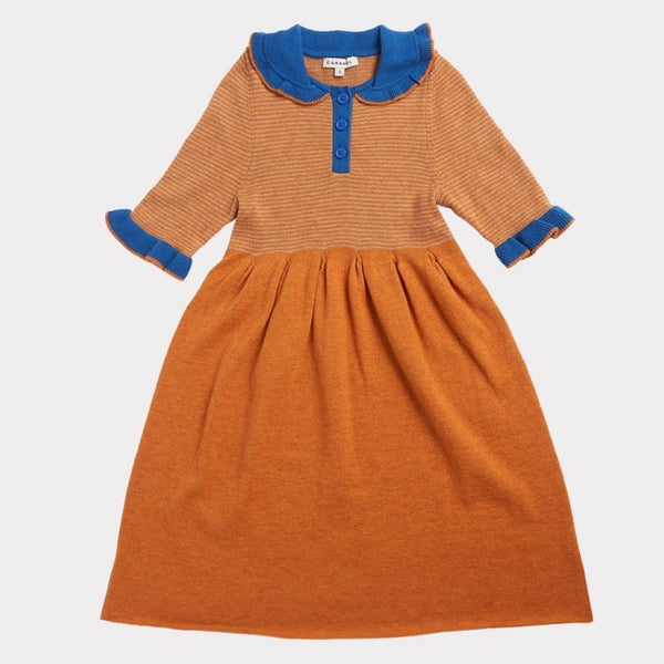 Portobello Knitted Dress - Honey Stripe - Mabel Child