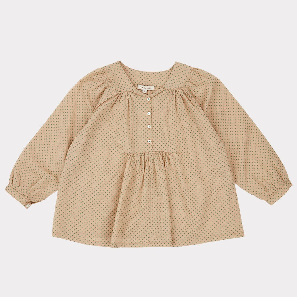 Victoria Blouse - Green Polka Dot - Mabel Child