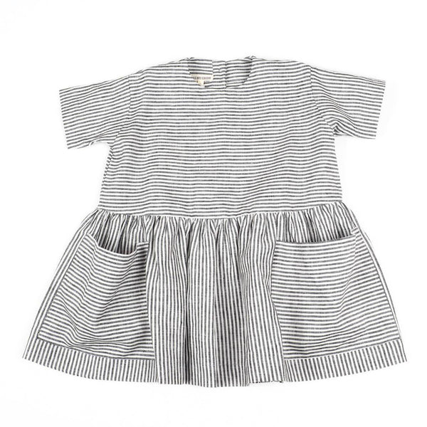 Linen Pocket Dress-Short Sleeve Blue Striped - Mabel Child