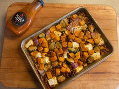 Pepper Jelly Roasted Butternut Squash & Brussel Sprouts w/Feta