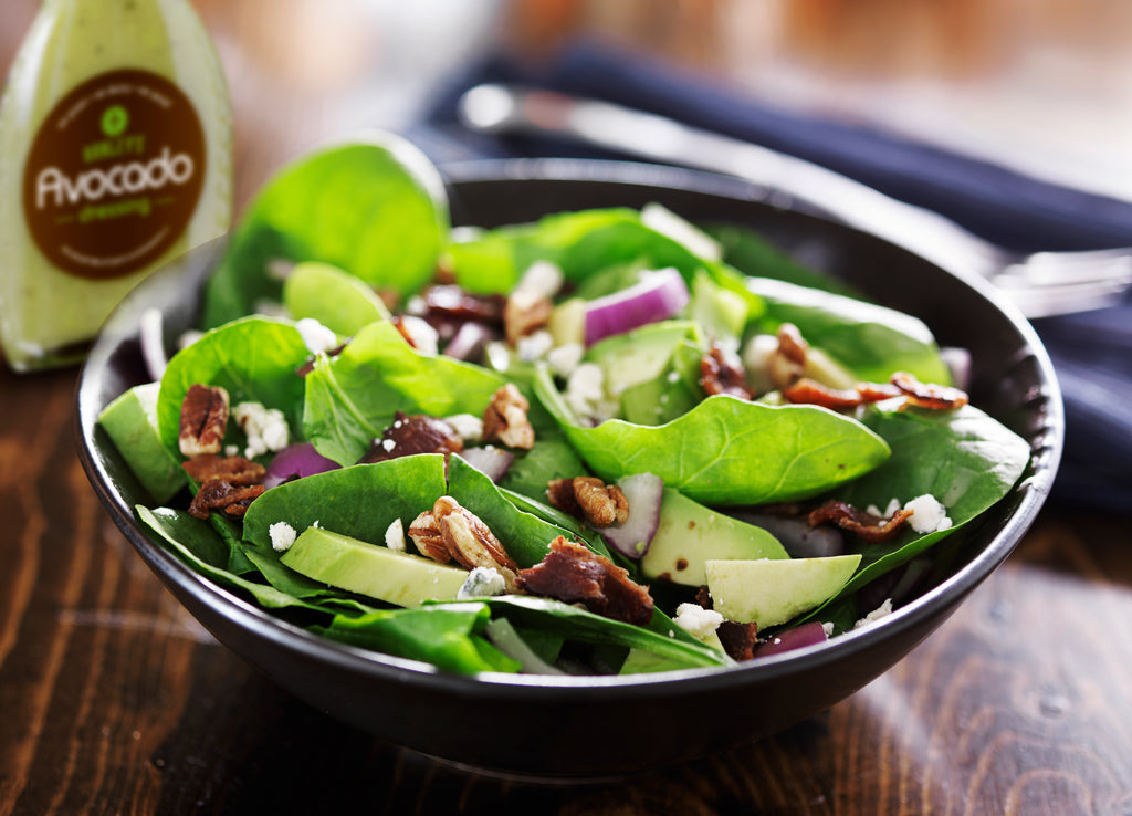 Avocado spinach bacon salad