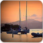 Coasters of Sailboats and Sunset in Virgin Islands