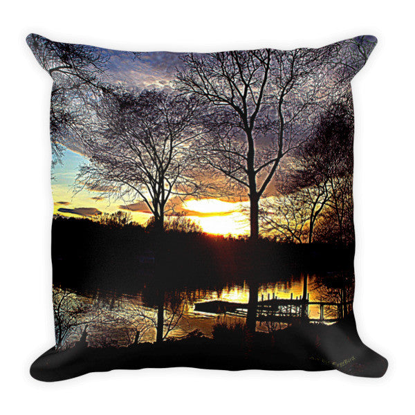 Black Magic Lake Wylie Sunset Pillow