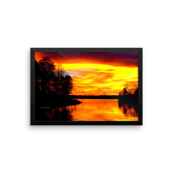 12 x 18 Lake Wylie Sunset Orange Kiss Framed Poster