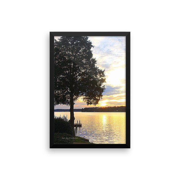 12 x 18  Red Fez Lake Wylie Sunset Calmness Framed Poster