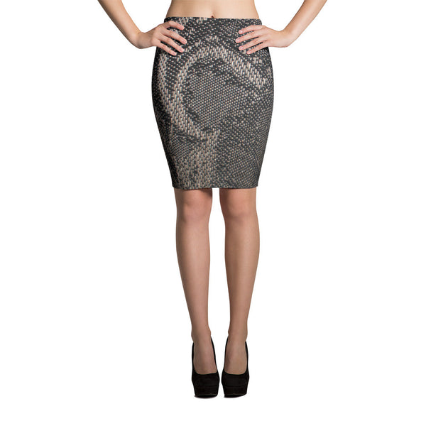 Black Web Pencil Skirt