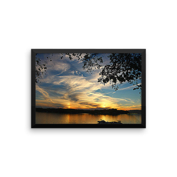 12 x 18 Lake Wylie Sunset Coud Burst Framed Poster