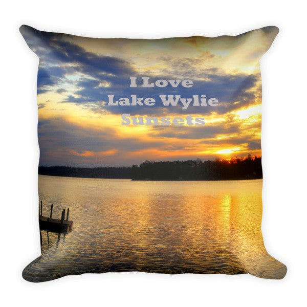 I Love Lake Wylie Sunsets Pillow