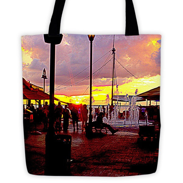 Cancun Sunset and Fountain Tote bag
