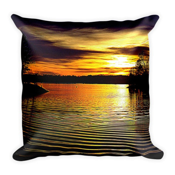 Lake Wylie Sunset Golden Pond Pillow