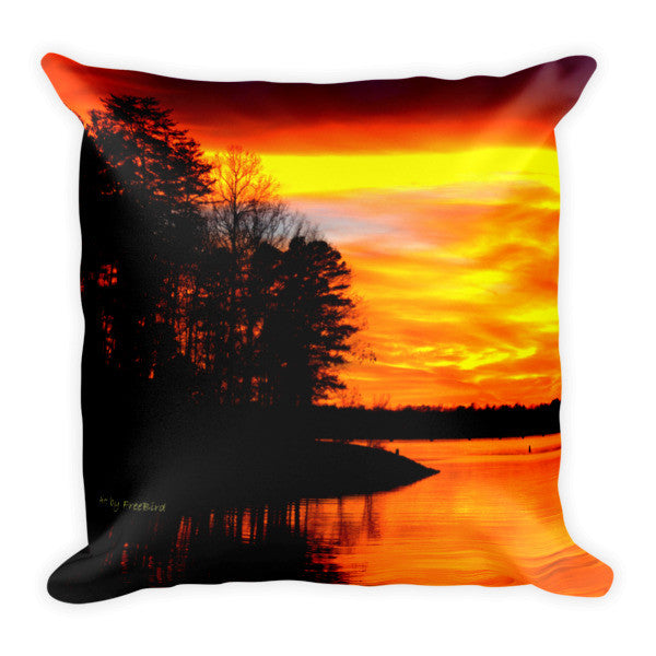 Magnificant and Bright Colored Lake Wylie Sunset Pillow