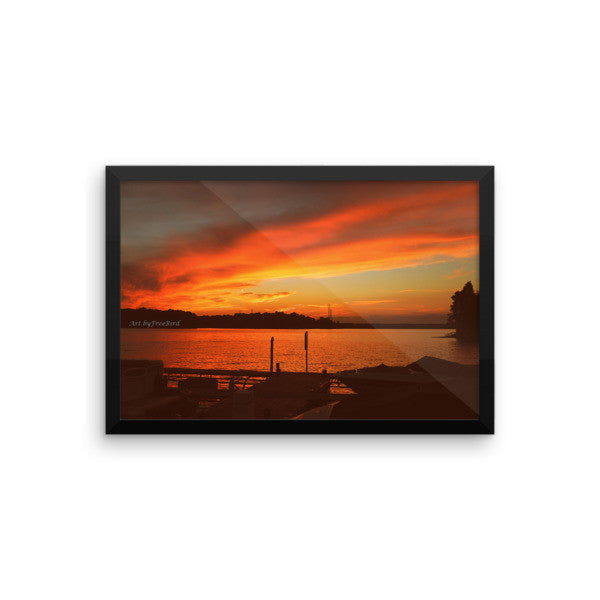 12 x 18 Lake Wylie Sunset Fire Framed Poster