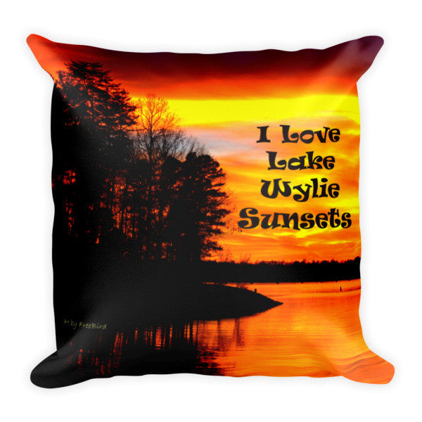 Bright and Colorful I Love Lake Wylie Sunsets Pillow