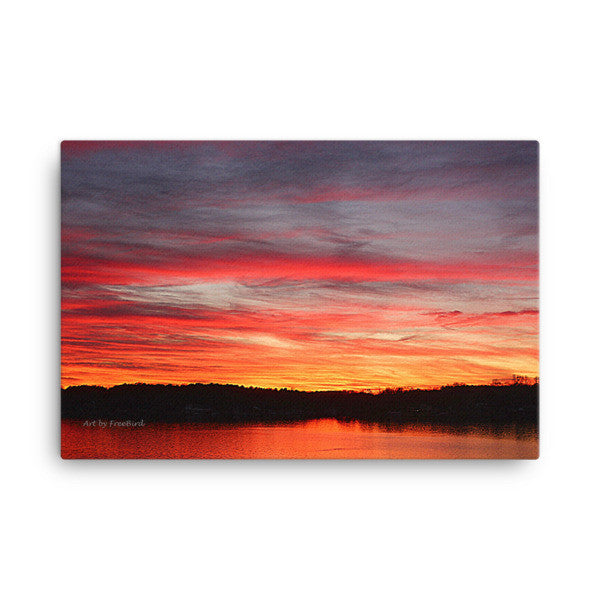 Pretty in Pink Lake Wylie Sunset 24x36 Canvas
