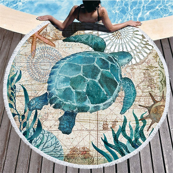 Ocean Turtle Tassel Round Bath Towel Beach Towel Microfibre Travel Compressed Shower Bathroom Towels Bath Towels for Adults