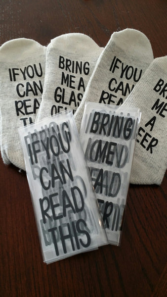 HTV Message Socks Decals - Cutting Service (Siser Stretch Easyweed HTV)