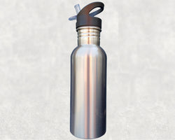 600ml Stainless Steel Water Bottle, Silver and White, Straw Top - Sublimation