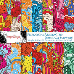 Abstract Flowers - Patterned Adhesive Vinyl (14 Different patterns available)