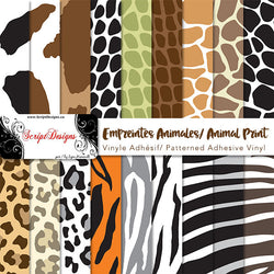 Animal Print - Patterned Adhesive Vinyl (18 Different designs available)