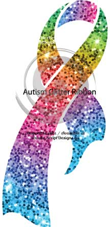 Autism Glitter Ribbon HTV Decal