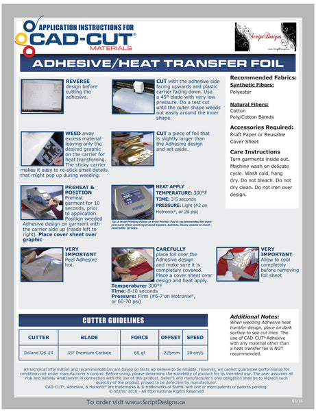 "Heat Transfer Foil and Adhesive (12""x12"") - ScriptDesigns - 17"