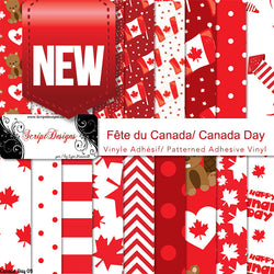 Canada Day - Patterned Adhesive Vinyl  (18 Different designs available)