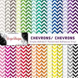 Chevrons - Patterned Adhesive Vinyl (30 different colours available)