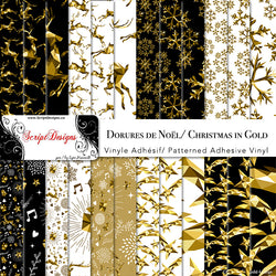 Christmas in Gold - Patterned Adhesive Vinyl (26 different designs available)