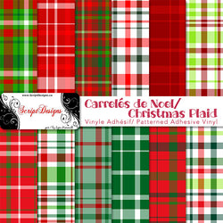 Christmas Plaids - Patterned Adhesive Vinyl  (12 Designs)