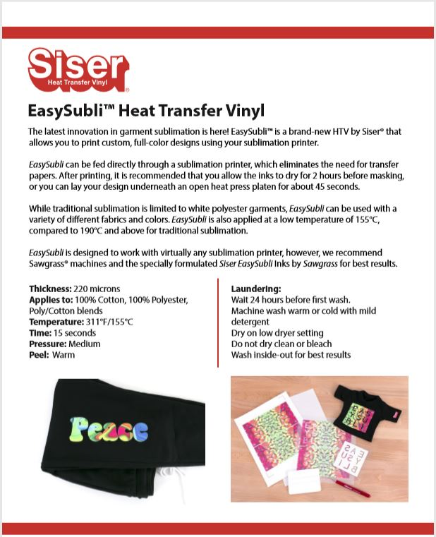 Select Size and Quantity EasySubli Sublimation HTV by Siser