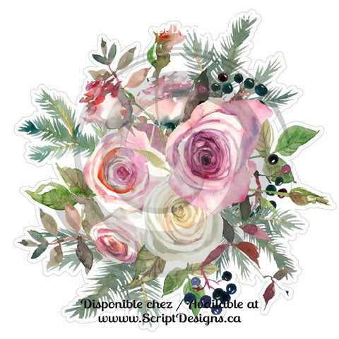 Watercolour Flowers (HTV / Iron On) - Frosted Roses Collection (4 models available)
