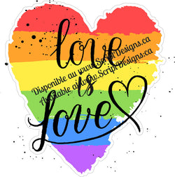 Love is Love Heart Shape - Pride Collection (Adhesive Decal)