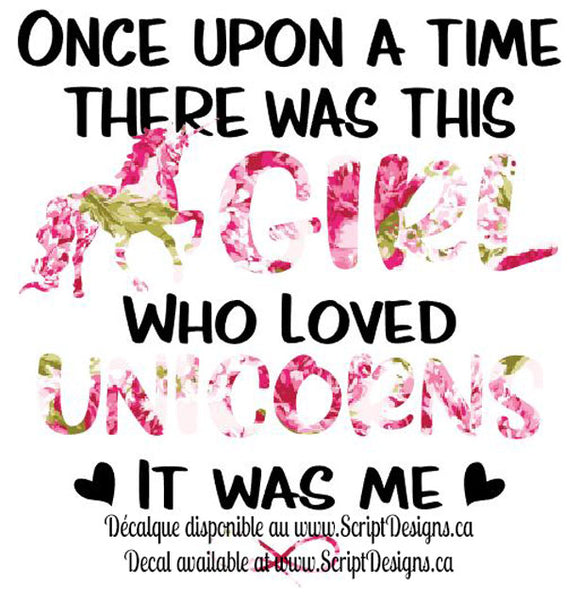 Girl who Loved Unicorns - Black Lettering - HTV Decal (Iron On)
