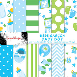 Baby Boy - Patterned Adhesive Vinyl  (12 Different designs available)