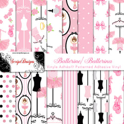 Ballerina - Patterned Adhesive Vinyl (16 Different designs available)