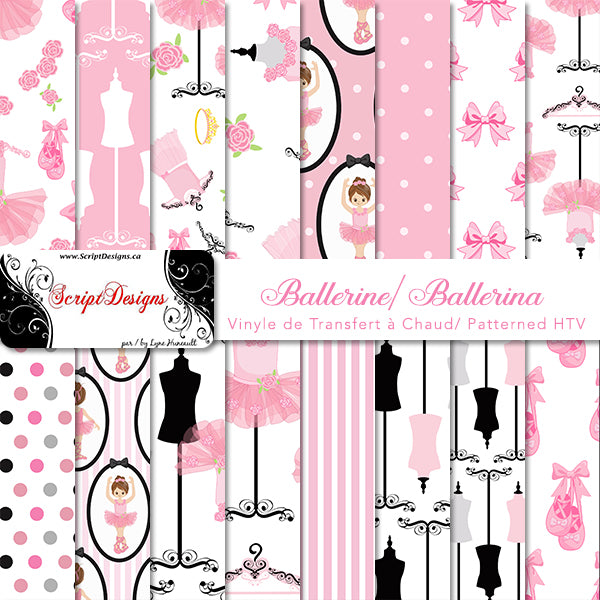 Ballerina - Patterned HTV (16 Different designs available)