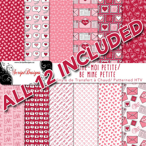 Be Mine Patterned Htv Samplers 12 Designs Included