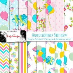 Birthday - Patterned Adhesive Vinyl (16 Different designs available)