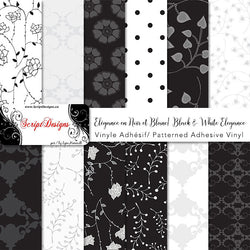 Black and White Elegance - Patterned Adhesive Vinyl  (14 Different designs available)