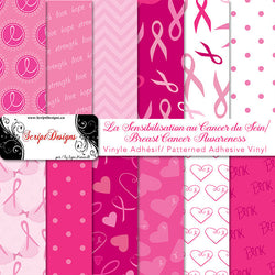 Breast Cancer Awareness - Patterned Adhesive Vinyl (11 Different designs available)