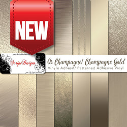 Champagne Gold - Patterned Adhesive Vinyl  (14 Different designs available)