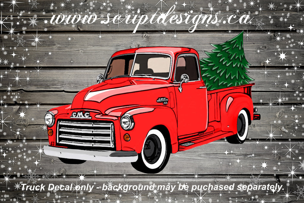 Christmas Red Truck.Christmas Tree Red Truck Adhesive Decal
