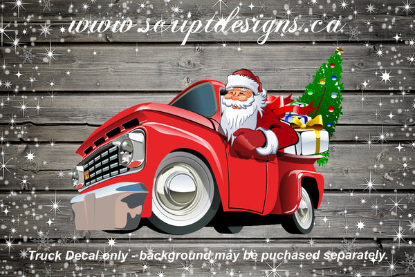 Christmas Tree Red Truck with Santa Adhesive Decal