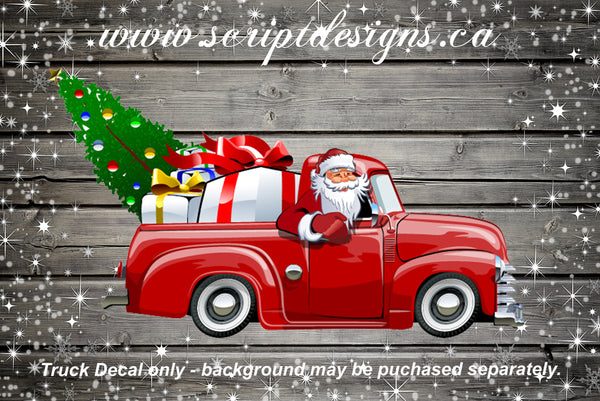 Christmas Tree Red Truck with Santa and Gifts Adhesive Decal