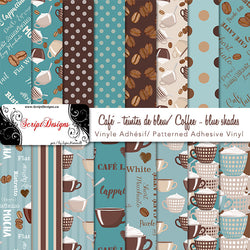 Coffee (blue shades) - Patterned Adhesive Vinyl (16 Different designs available)